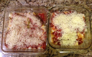 And lest you all think I'd let 'lil starve. She and I made four cheese Manicotti for dinner.